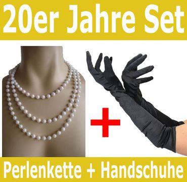 Spar-Pack | schwarze 20er Jahre Handschuhe und Perlenkette | Mafia Charleston Set