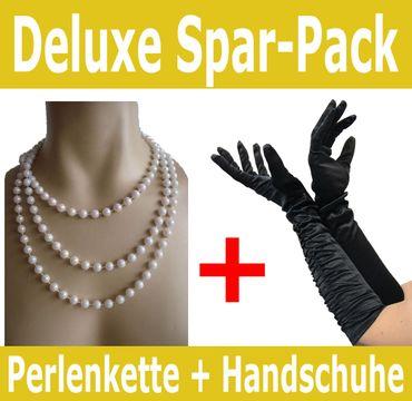 [Paket] Foxxeo 50002 Spar-Pack | schwarze 20er Jahre Deluxe Handschuhe und Perlenkette | Mafia Charleston Deluxe Set
