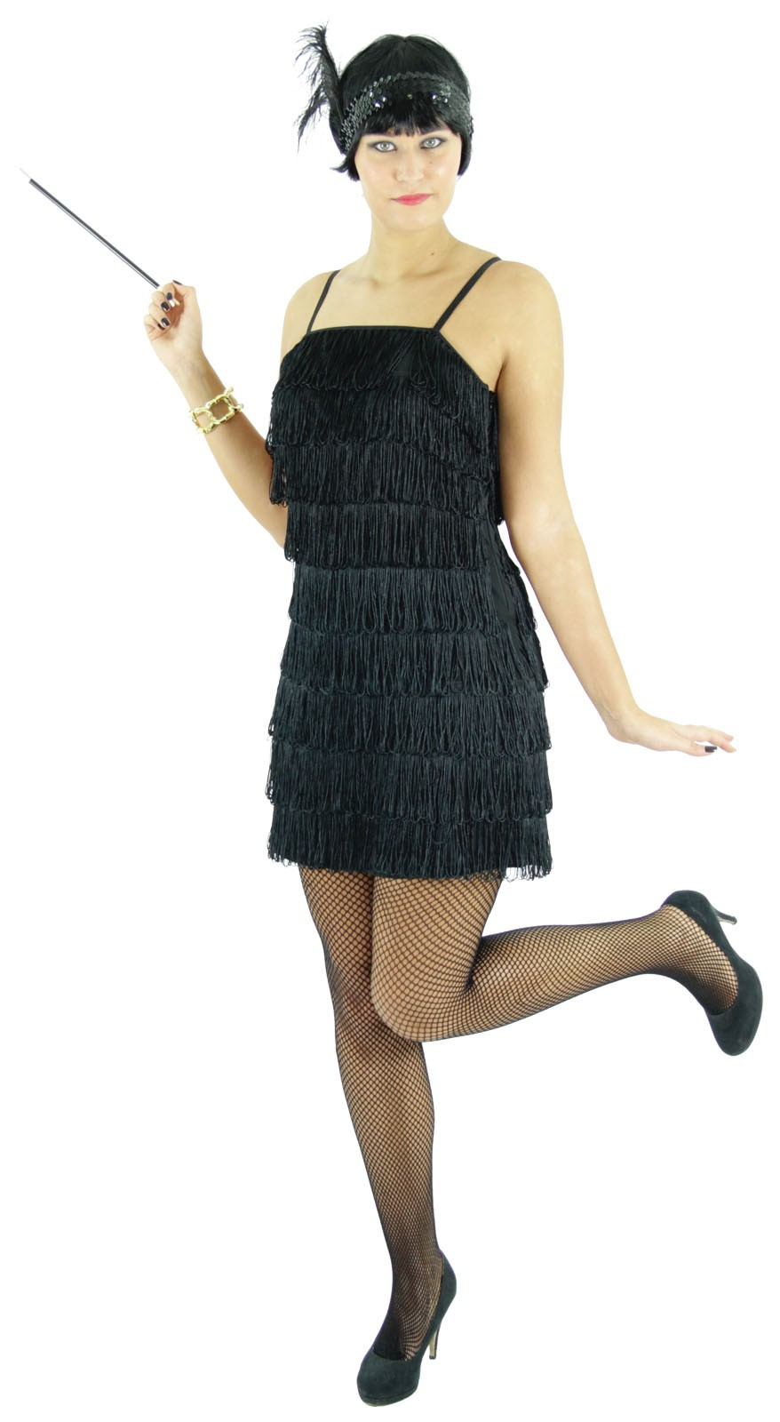 20er Jahre Damen Kleid Charleston Kostüm, schwarz
