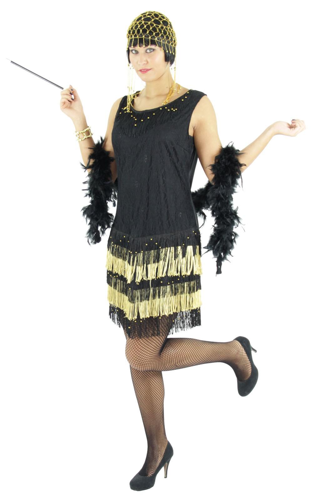 20er Jahre Damen Kleid Charleston Kostüm, schwarz-gold