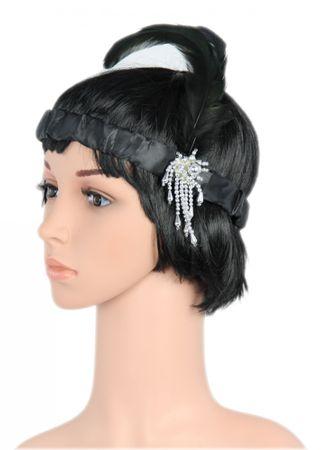 schwarzes Charleston Kopfband für 20er Jahre Party Stirnband schwarz mit Federn
