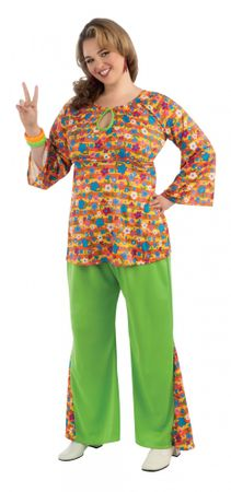 buntes 60er Jahre Girl Kostüm für Damen Gr. XL