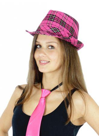 Gangster Hut Panama Hut kariert pink für Damen Herren