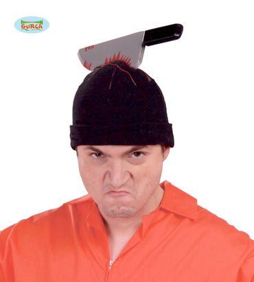 Mütze Schwarz + Messer Halloween Horror