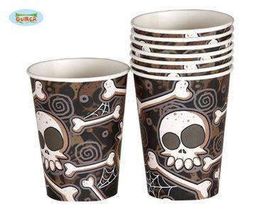 Totenkopf Knochen Halloween Becher 8 Stück ca. 200ml