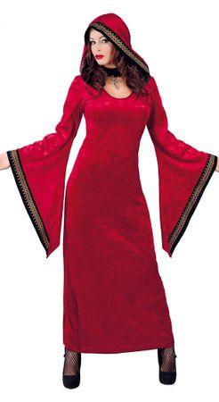 langes rotes Vampir Kleid mit weiten Ärmeln Kostüm für Damen Gr. M-XL