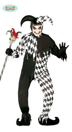 schwarz weißes Harlekin Clown Kostüm für Herren Gr. M/L
