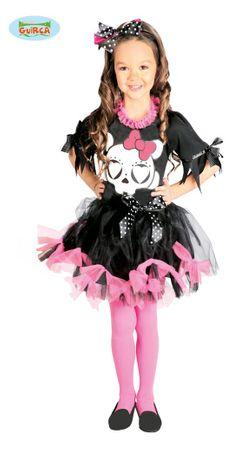 Totenkopf Kleid für Mädchen Gr. 110-146
