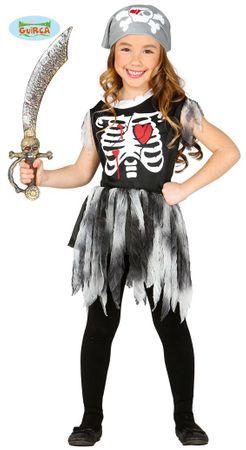 Piraten Skelett Kleid für Mädchen Gr. 98 - 146