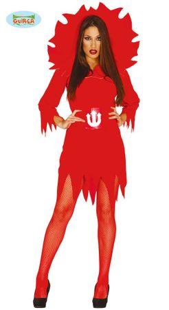 Teufelkostüm mit Flammenmotiv für Damen Gr. M/L