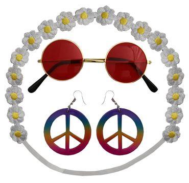 Hippie Set für Damen Karneval Fasching 70er Jahre Party Flower Power