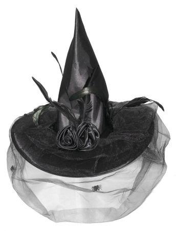 Hexenhut schwarz mit Tüll und Federn für Damen
