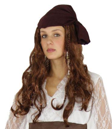 Braune Piratin Perücke mit Bandana und Perlen