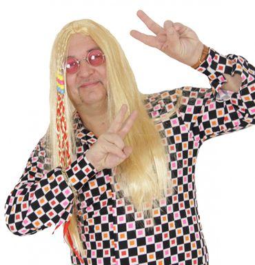Blonde Hippie Langhaar Perücke mit bunten Zöpfen