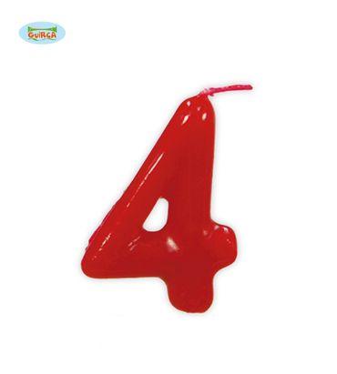 rote Kerze Nummer 4 - Deko Geburtstag Kuchen ca. 5,5 cm