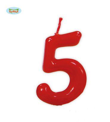 rote Kerze Nummer 5 - Deko Geburtstag Kuchen ca.  5,5 cm
