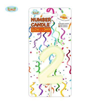 leuchtende Nummer 2 Kerze für Geburtstag 6 cm