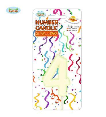 leuchtende Nummer 4 Kerze für Geburtstag 6 cm