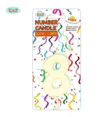 leuchtende Nummer 8 Kerze für Geburtstag 6 cm