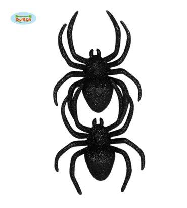 schwarze Glitzer Spinnen Halloween Deko ca. 12,5 cm