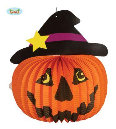 Halloween Lampion Laterne Kürbis mit Hut 28 cm