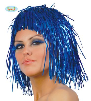 blaue Lametta Perücke für Damen