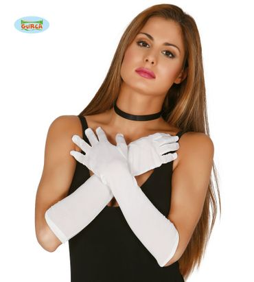 weiße lange Handschuhe, 45cm