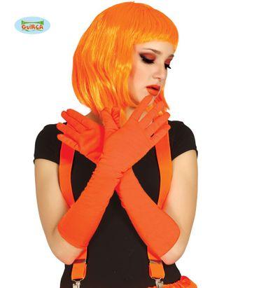 neon orange lange Handschuhe für Erwachsene ca. 45cm