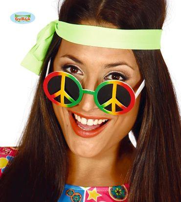 bunte 70er Jahre Peace Sonnenbrille für Erwachsene