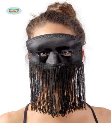 Karnevalsmaske mit Fransen in schwarz