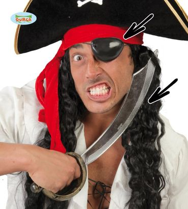 Piratensäbel Augenklappe Säbel Pirat Seeräuber Kostüm 47 cm