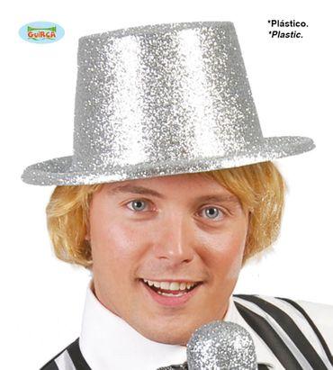 Glänzender Zylinder Hut silber Erwachsene