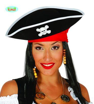 Piratenkapitän Hut in schwarz zum Kostüm