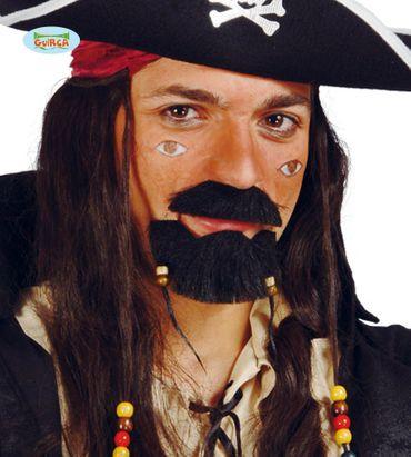 schwarzer Piraten Bart mit Perlen für Herren