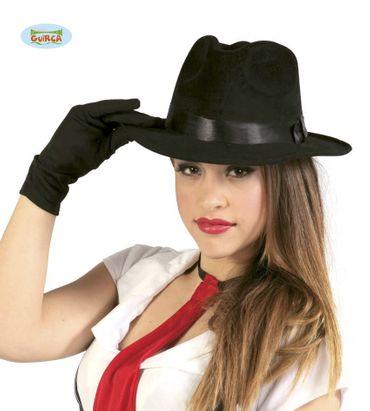 schwarzer Gangster Hut aus Filz für Erwachsene