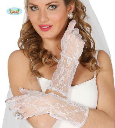lange Spitzen-Handschuhe weiß 36 cm