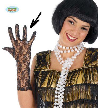 lange Spitzen-Handschuhe schwarz 36 cm