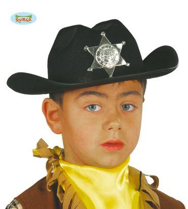 Schwarzer Polizei Sheriff Hut mit Stern