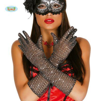 lange Pailletten-Handschuhe silber 42 cm