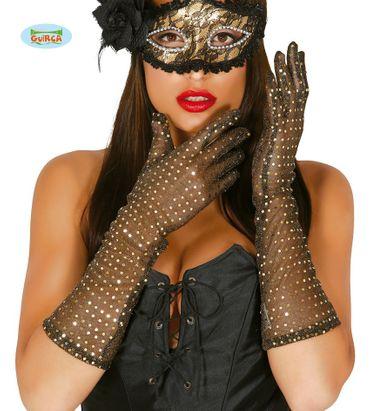 lange Pailletten-Handschuhe gold 42 cm