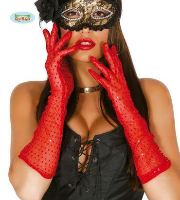 lange Pailletten-Handschuhe rot 42 cm
