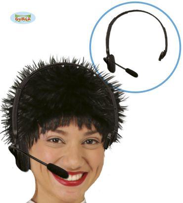 schwarze Mikrofon Headset Attrappe für Erwachsene
