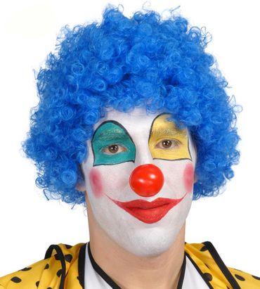 blaue Clown Locken Perücke für Erwachsene