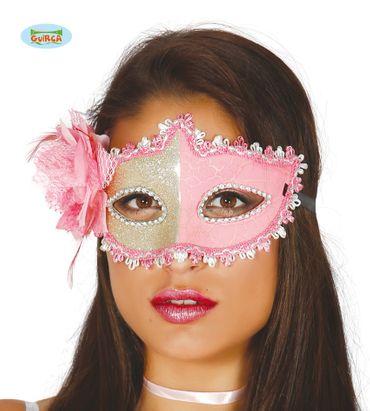 verführerische rosa Maske mit Blume für Damen