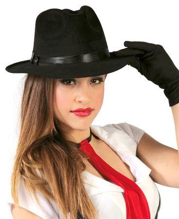 schwarzer Gangster Hut mit schwarzem Band für Erwachsene