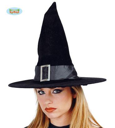 schwarzer Hexen Hut aus Samt für Damen
