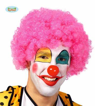 Pinke Clown Perücke für Damen und Herren