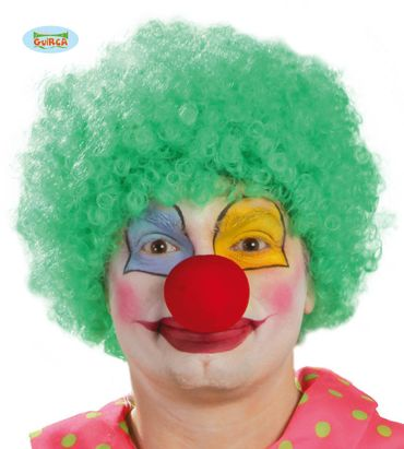 Grüne Afro Locken Perücke zum Clown Kostüm