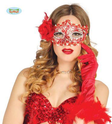sexy venezianische Maske in rot und gold für Damen