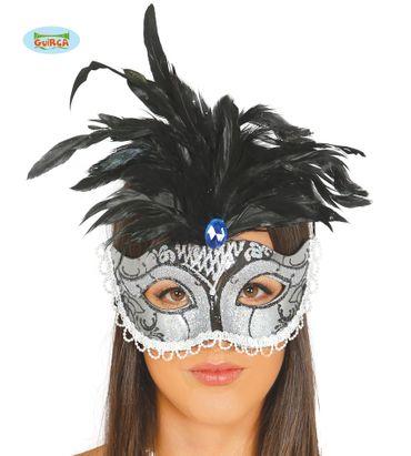 Venezianische Maske in silber mit schwarzen Federn